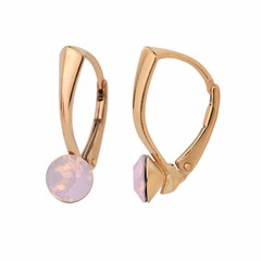 Earrings pink opal crystal 6mm - rose gold plated silver - 1458