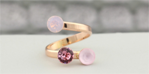 Rose gold ring Swarovski crystal pink