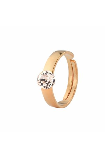 Ring champagne coloured Swarovski crystal 6mm - rose gold plated silver - ARLIZI 1476 - Lucy