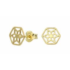 Earrings rosette studs - silver gold plated - 1390