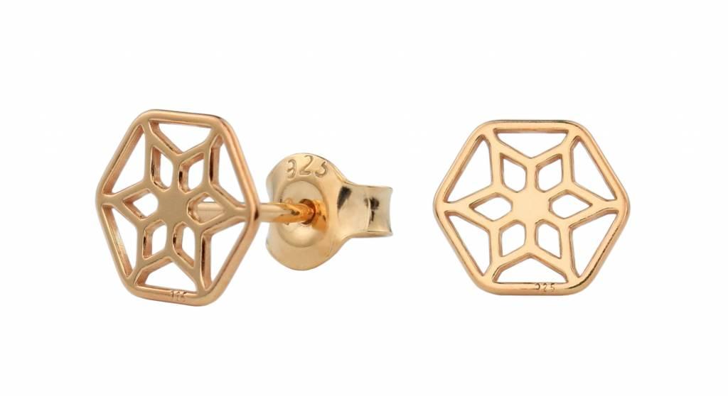 Earrings rosette ear studs rose gold - ARLIZI 1391 - ARLIZI ...