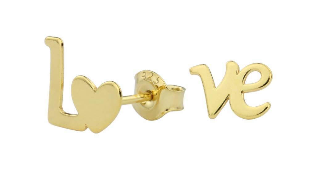Earrings love ear studs gold - ARLIZI 1393 - ARLIZI Jewelry Webshop