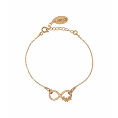 Bracelet infinity symbol flowers - rose gold plated - 1321