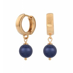 Earrings blue pearl hoops - silver rose gold plated - 1504