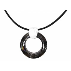 Necklace black leather - black crystal ring - silver - 1368