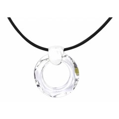 Necklace black leather - crystal ring - silver - 1370