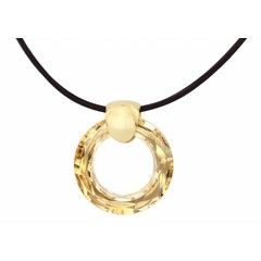 Necklace brown leather - crystal ring - gold plated - 1374