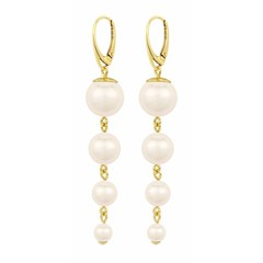 Pearl earrings cream - gold plated - 1336