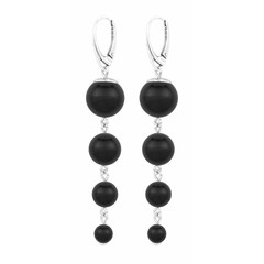 Pearl earrings black - sterling silver - 1332