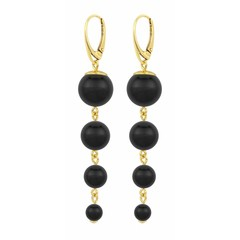 Pearl earrings black - gold plated - 1333