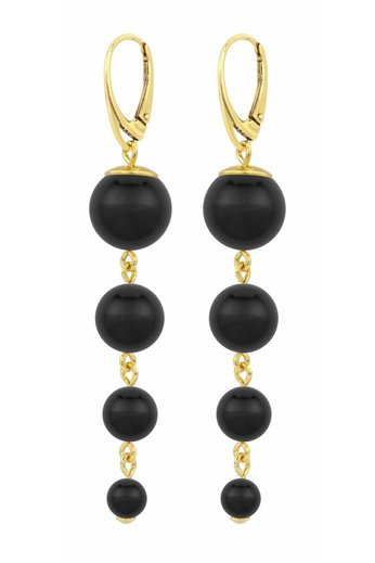 Pearl earrings black - gold plated silver - ARLIZI 1333 - Nora