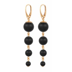 Pearl earrings black - rose gold plated - 1334