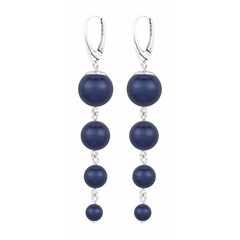 Pearl earrings blue - silver - 1337