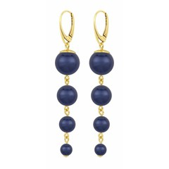 Pearl earrings blue - gold plated - 1338