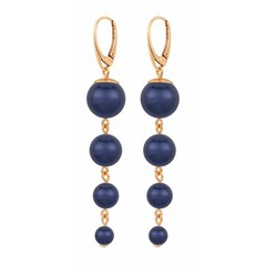 Pearl earrings blue - rose gold plated - 1339