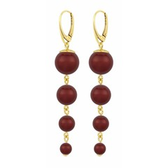 Pearl earrings red - gold plated - 1341