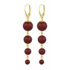 Perle Ohrringe rot - Silber vergoldet - 1341
