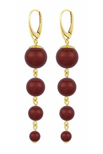 Perle Ohrringe Bordeaux rot - Silber vergoldet - ARLIZI 1341 - Nora