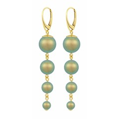 Pearl earrings green - silver gold plated - 1343