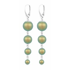 Pearl earrings green - silver - 1342