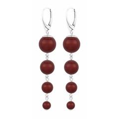 Parel oorbellen rood - zilver - 1340