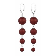 Pearl earrings red - silver - 1340