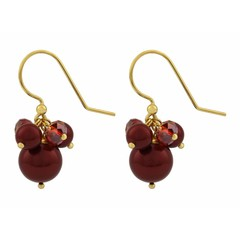 Earrings red pearl crystal - silver gold plated - 1355