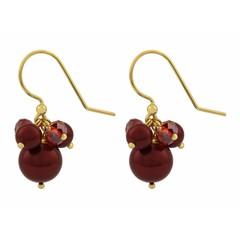 Ohrringe rote Perle und Kristall - vergoldet - 1355
