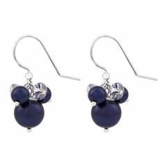 Oorbellen blauw parel kristal - sterling zilver - 1349