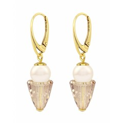 Earrings cream pearl gold crystal - gold plated silver - 1471