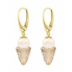 Ohrringe creme Perle goldfarbig Kristall - Silber vergoldet - 1471