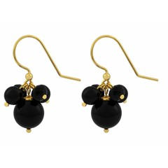 Earrings black pearl and crystal - gold plated - 1364