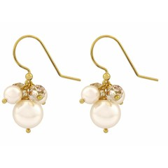 Earrings cream pearl and crystal - gold plated - 1352