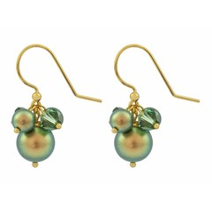 Earrings green pearl and crystal - gold plated - 1358