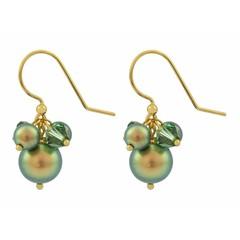 Ohrringe grün Perle Kristall - Silber vergoldet - 1358