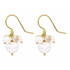 Earrings white pearl and crystal - gold plated - 1367