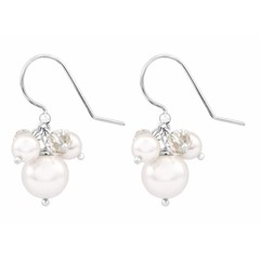Earrings white pearl and crystal - silver - 1346