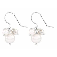 Earrings white pearl crystal - silver - 1346