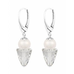 Earrings white pearl and crystal - silver - 1463