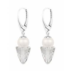 Earrings white pearl crystal - sterling silver - 1463