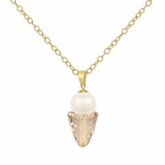 Halskette creme Perle und Kristall - Silber vergoldet - 1472