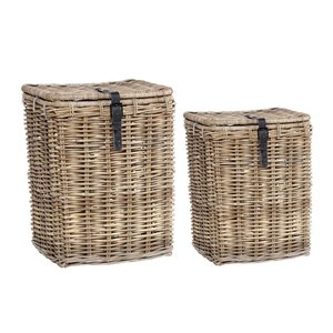 HUBSCH 2 BASKETS WITH LEATHER BUCKLE