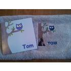 Geboortekaartje geborduurd op handdoek