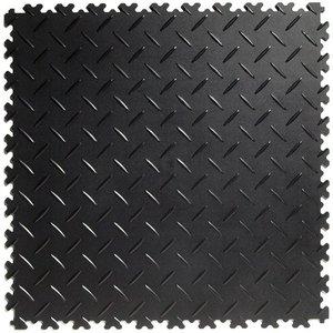 PVC kliktegel - motief: Diamant (tranenplaat) - kleur: Zwart-Recycled