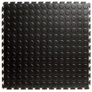 PVC kliktegel HD (industrieel) - motief: Noppen - kleur: Zwart-Recycled