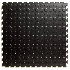 PVC kliktegel - motief: Noppen - kleur: Zwart-Recycled