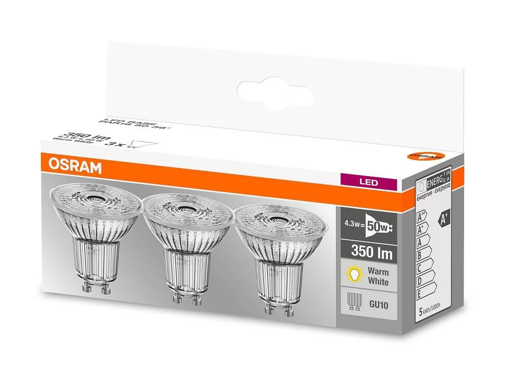osram set of 3 led star ledspots 4 8 50w gu10 warm white. Black Bedroom Furniture Sets. Home Design Ideas