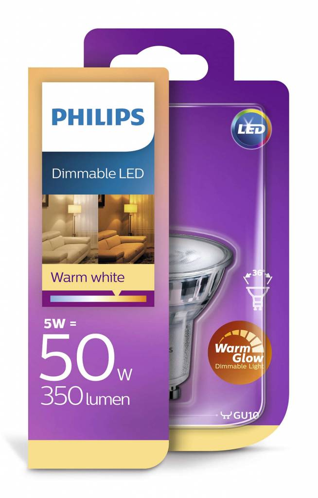 led classic gu10 5 5w 50w warmglow dimbaar. Black Bedroom Furniture Sets. Home Design Ideas
