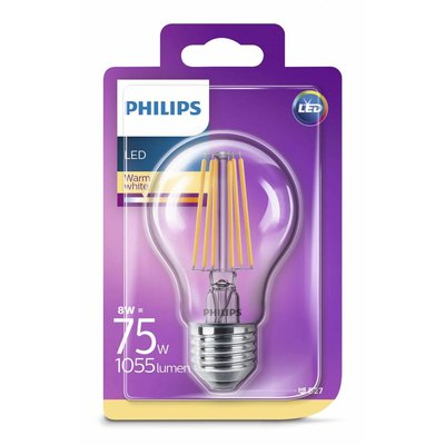 Philips E27 Retro Filament LED Classic A60 warm white 8-75W