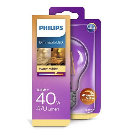 Philips E27 Retro Filament LED A60 warmglow 5.5-40W DIM